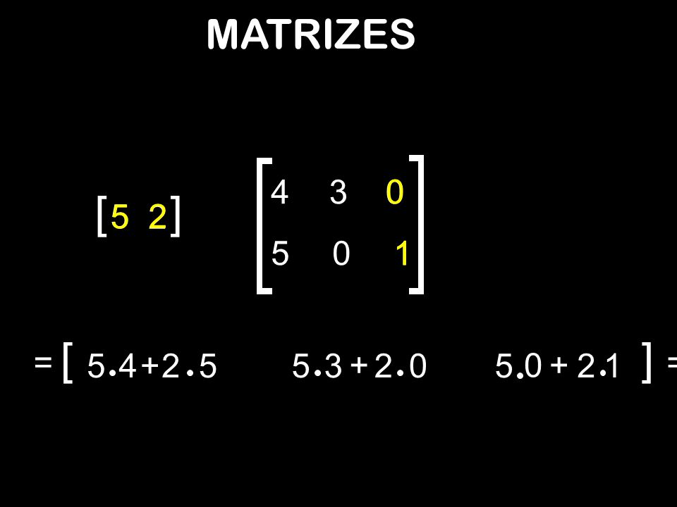 MATRIZES 4 3 [ ] 5 5 2 2 5 1 1 [ ] = 5 4 + 2 5 5 3 + 2 5 + 2 1 =